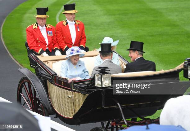 Queen Elizabeth II, Alan Brooke, 3rd Viscount Brookeborough, Prince Charles, Prince of Wales and Camilla, Duchess of Cornwall arrive at the Parade...