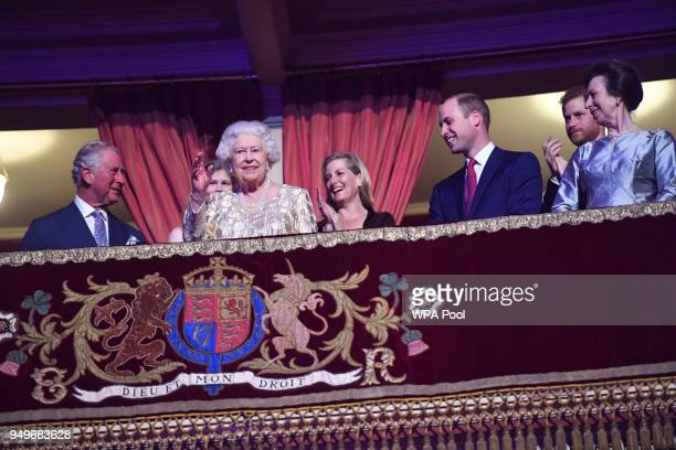 Queen Elizabeth II along with Prince Charles Prince of Wales Sophie Countess of Wessex Prince William Duke of Cambridge Prince Harry and Princess...