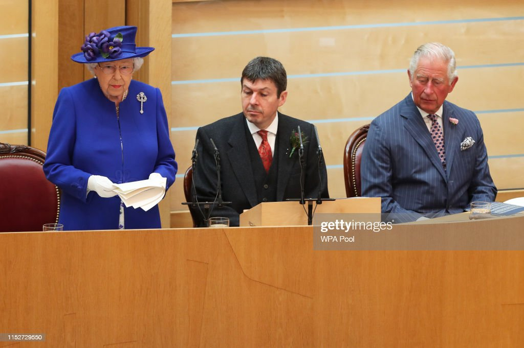 HM Queen And The Duke Of Rothesay Attend Ceremony To Mark The Scottish Parliament : News Photo