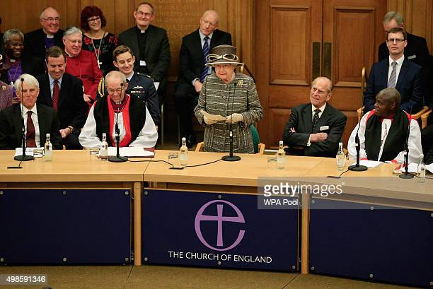 Queen Elizabeth II alongside the Archbishop of Canterbury the Most Reverend Justin Welby addresses the Tenth General Synod during its inauguration at...