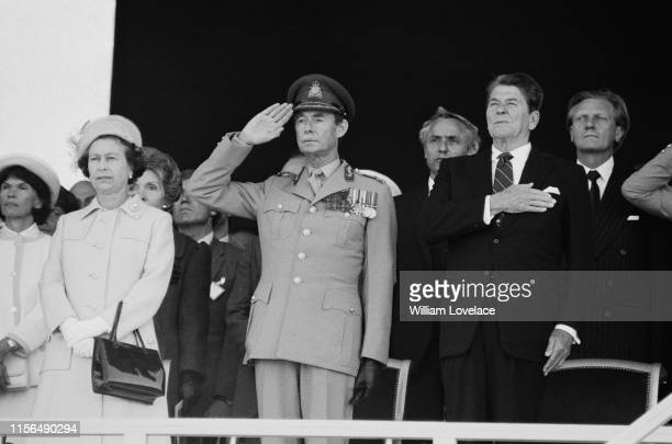 Queen Elizabeth II, American actress Nancy Reagan , Jean Grand Duke of Luxembourg , American politician and actor Ronald Reagan and British...