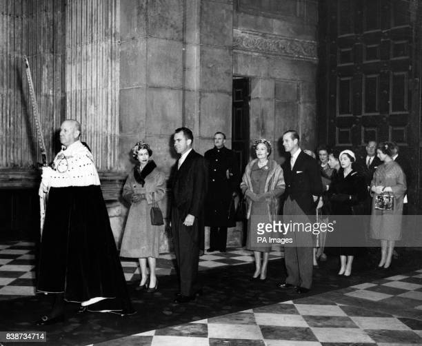 Queen Elizabeth II and American VicePresident Richard Nixon in procession through St Paul's Cathedral London for the dedication of the American...