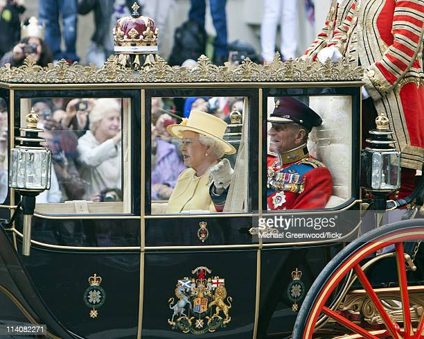 Queen Elizabeth II and and Prince Philip Duke of Edinburgh leave the Royal Wedding of Prince William Duke of Cambridge and Catherine Duchess of...