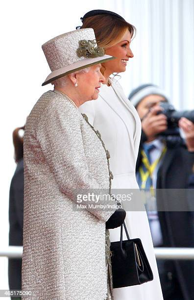 Queen Elizabeth II and Angelica Rivera attend the Ceremonial Welcome for Mexican President Enrique Pena Nieto at Horse Guards Parade during day 1 of...