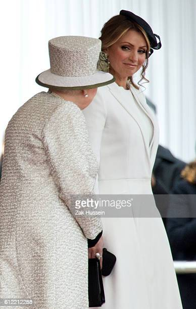 Queen Elizabeth II and Angelica Rivera during a ceremonial welcome for The President Of United Mexican States at Horse Guards Parade in London