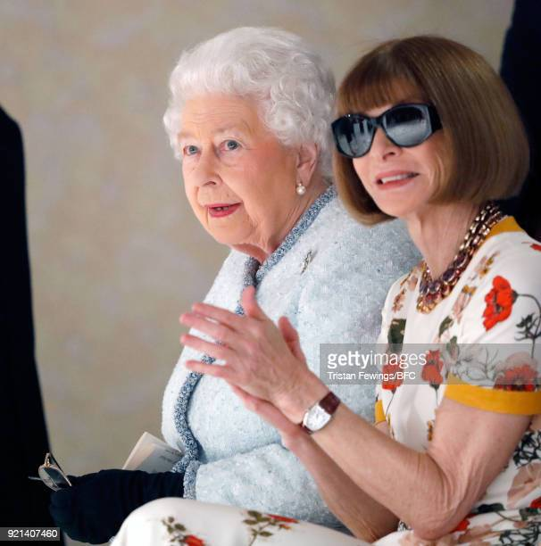 Queen Elizabeth II and Anna Wintour attend the Richard Quinn show during London Fashion Week February 2018 on February 20 2018 in London England