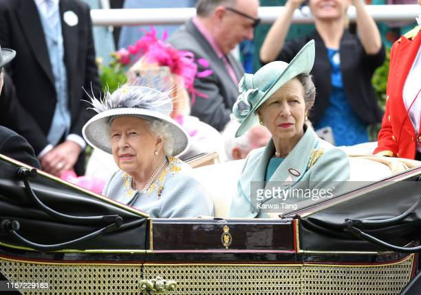Queen Elizabeth II and Anne, Princess Royal attend day three, Ladies Day, of Royal Ascot at Ascot Racecourse on June 20, 2019 in Ascot, England.