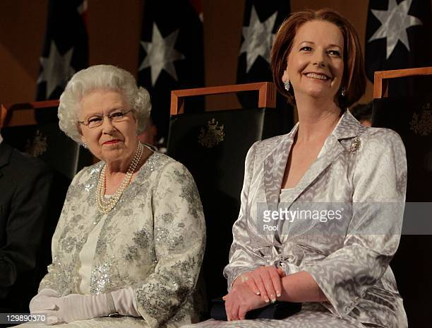 Queen Elizabeth II and Australian Prime Minister Julia Gillard attend a Parliamentary Reception at Parliament House on October 21, 2011 in Canberra,...