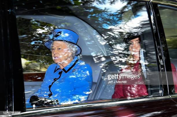 Queen Elizabeth II is driven from Crathie Kirk Church following the service on September 9 2018 in Crathie Aberdeenshire Scotland Queen Victoria...