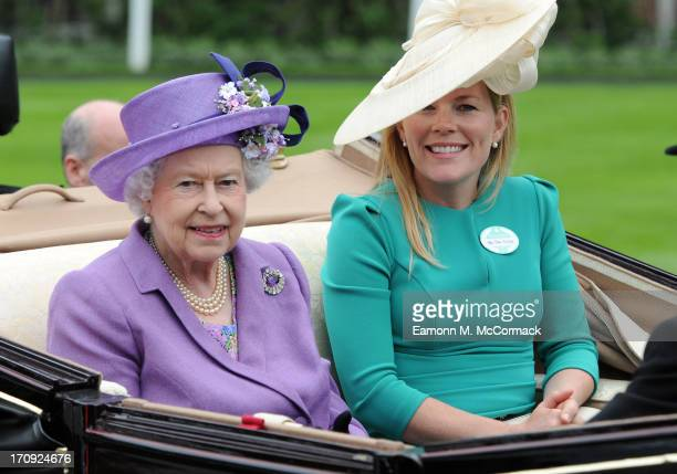 Queen Elizabeth II and Autumn Phillips attend Ladies Day on Day 3 of Royal Ascot at Ascot Racecourse on June 20 2013 in Ascot England