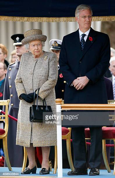 Queen Elizabeth II and Belgium's King Philippe attend the Opening of the Flanders' Fields Memorial Garden at Wellington Barracks on November 6 2014...