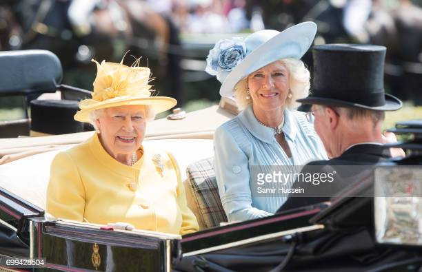 Queen Elizabeth II and Camilla Duchess of Cornwall arrive by carriage at Royal Ascot 2017 at Ascot Racecourse on June 21 2017 in Ascot England