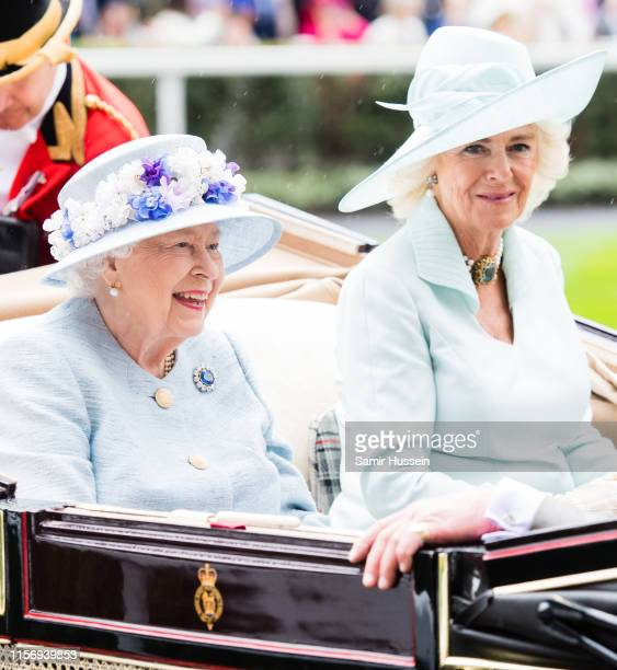 Queen Elizabeth II and Camilla, Duchess of Cornwall arrrive by carriage on day two of Royal Ascot at Ascot Racecourse on June 19, 2019 in Ascot,...