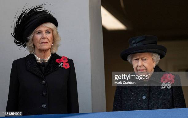 Queen Elizabeth II and Camilla Duchess of Cornwall attend the annual Remembrance Sunday memorial at The Cenotaph on November 10 2019 in London England