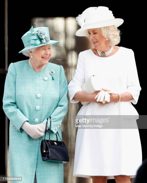 Queen Elizabeth II and Camilla, Duchess of Cornwall attend the Ceremonial Welcome in the Buckingham Palace Garden for President Trump during day 1 of...