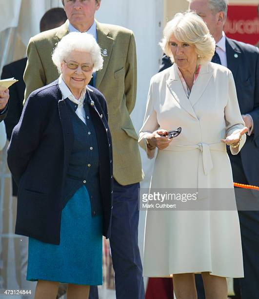 Queen Elizabeth II and Camilla Duchess of Cornwall attend the Royal Windsor Horse show in the private grounds of Windsor Castle on May 13 2015 in...