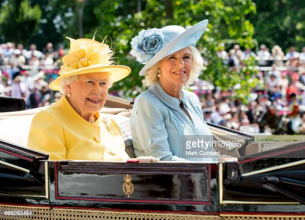 Queen Elizabeth II and Camilla Duchess of Cornwall attends Royal Ascot 2017 at Ascot Racecourse on June 21 2017 in Ascot England