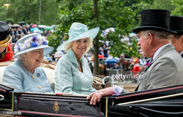 Queen Elizabeth II and Camilla, Duchess of Cornwall on day two of Royal Ascot at Ascot Racecourse on June 19, 2019 in Ascot, England.