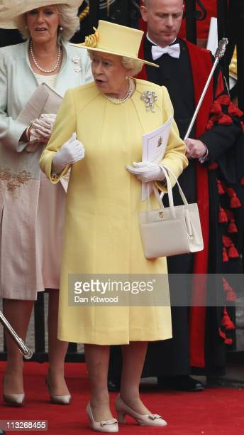 Queen Elizabeth II and Camilla Duchess of Cornwall prepare to make the journey by carriage procession to Buckingham Palace after the Royal Wedding of...