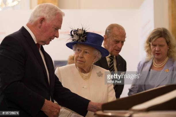 Queen Elizabeth II and Canada Governor General David Johnston are seen during her visit to Canada House on July 19 2017 in London England The visit...
