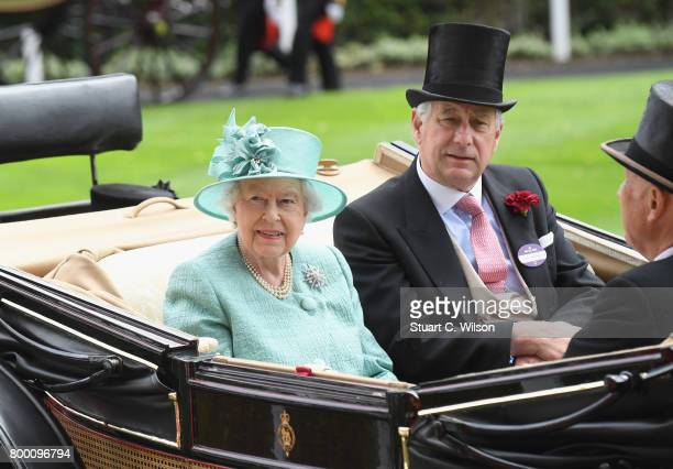 Queen Elizabeth II and Captain David BowesLyon arrive in the Royal Procession on day 4 of Royal Ascot 2017 at Ascot Racecourse on June 23 2017 in...