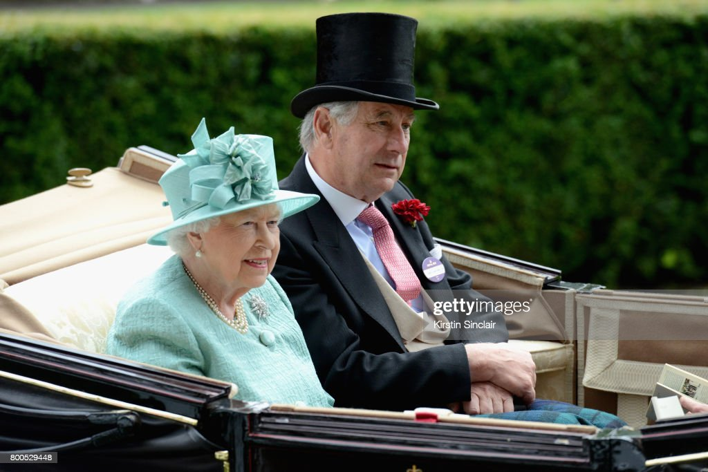 Queen Elizabeth II and Captain David Bowes-Lyon arrive in the Royal Procession on day 4 of Royal Ascot at Ascot Racecourse on June 23, 2017 in Ascot, England.