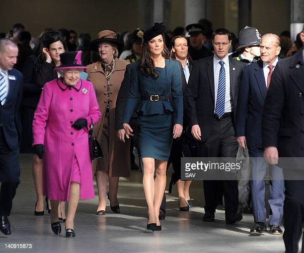 Queen Elizabeth II and Catherine Duchess of Cambridge and Prince Philip Duke of Edinburgh arrive at St Pancras station on March 8 2012 in Leicester...