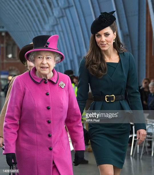 Queen Elizabeth II and Catherine Duchess of Cambridge arrive at St Pancras station before boarding a train to visit the city of Leicester on March 8...