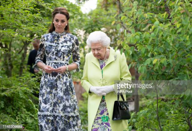 Queen Elizabeth II and Catherine Duchess of Cambridge at the RHS Chelsea Flower Show 2019 press day at Chelsea Flower Show on May 20 2019 in London...