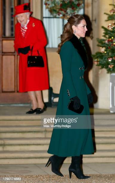 Queen Elizabeth II and Catherine, Duchess of Cambridge attend an event to thank local volunteers and key workers from organisations and charities in...