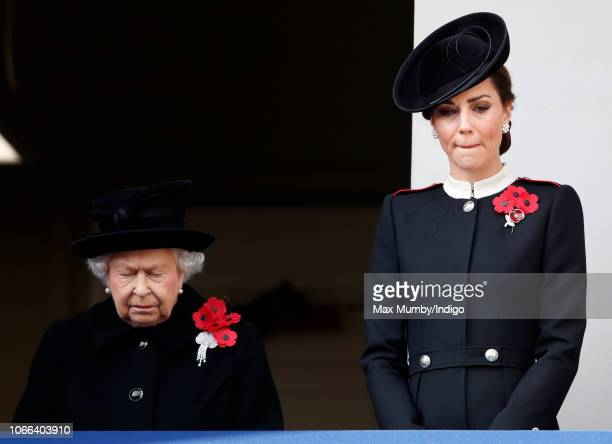 Queen Elizabeth II and Catherine Duchess of Cambridge attend the annual Remembrance Sunday Service at The Cenotaph on November 11 2018 in London...