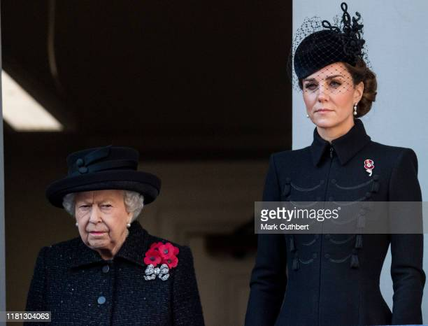 Queen Elizabeth II and Catherine, Duchess of Cambridge attend the annual Remembrance Sunday memorial at The Cenotaph on November 10, 2019 in London,...