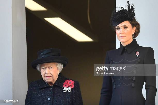 Queen Elizabeth II and Catherine Duchess of Cambridge attend the annual Remembrance Sunday memorial at The Cenotaph on November 10 2019 in London...