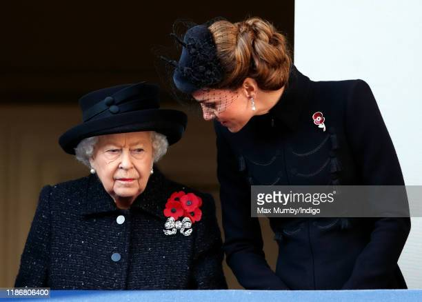 Queen Elizabeth II and Catherine, Duchess of Cambridge attend the annual Remembrance Sunday service at The Cenotaph on November 10, 2019 in London,...
