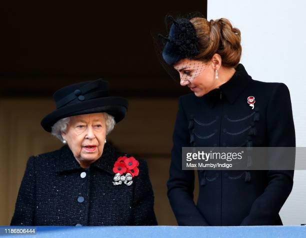 Queen Elizabeth II and Catherine Duchess of Cambridge attend the annual Remembrance Sunday service at The Cenotaph on November 10 2019 in London...