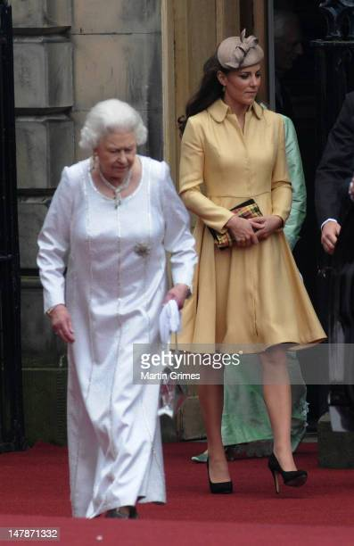 Queen Elizabeth II and Catherine, Duchess of Cambridge attend the Thistle Service for the installation of Prince William, who also has the title of...