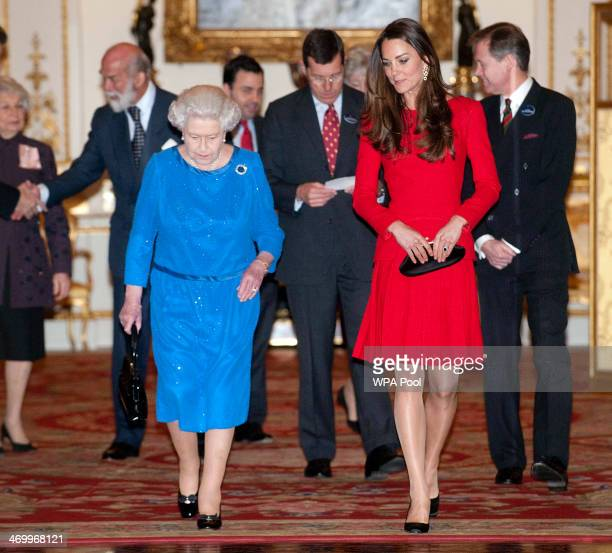 Queen Elizabeth II and Catherine Duchess of Cambridge attend the Dramatic Arts reception at Buckingham Palace on February 17 2014 in London England