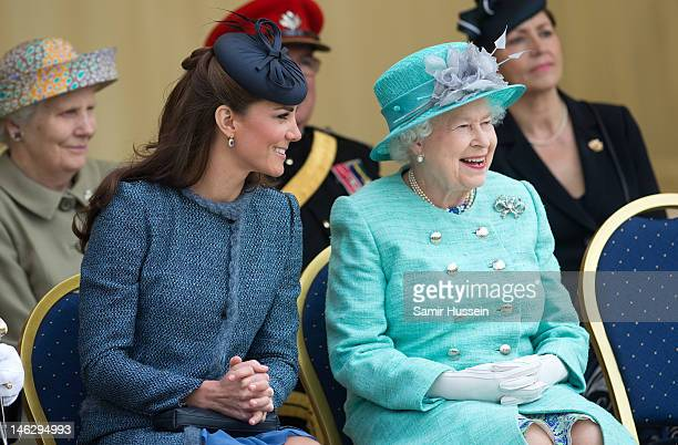 Queen Elizabeth II and Catherine Duchess of Cambridge attend Vernon Park during a Diamond Jubilee visit to Nottingham on June 13 2012 in Nottingham...