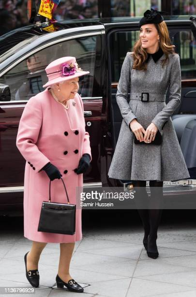 Queen Elizabeth II and Catherine, Duchess of Cambridge visit King's College London on March 19, 2019 in London, England to officially open Bush...