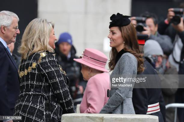 Queen Elizabeth II and Catherine Duchess of Cambridge visit King's College London to officially open Bush House the latest education and learning...