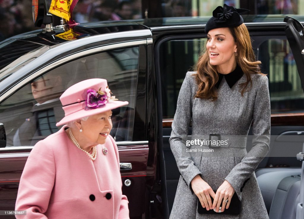 Queen Elizabeth II And The Duchess Of Cambridge Visit King's College London : News Photo