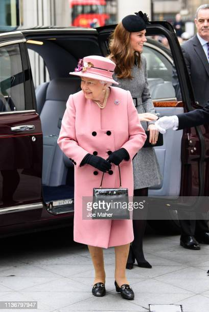 Queen Elizabeth II and Catherine Duchess of Cambridge visit King's College London on March 19 2019 in London England to officially open Bush House...