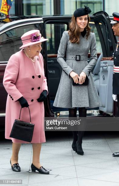 Queen Elizabeth II and Catherine, Duchess of Cambridge visit King's College to officially open Bush House, the latest education and learning...