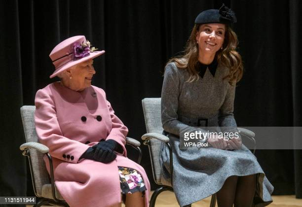 Queen Elizabeth II and Catherine Duchess of Cambridge visit King's College to officially open Bush House the latest education and learning facilities...
