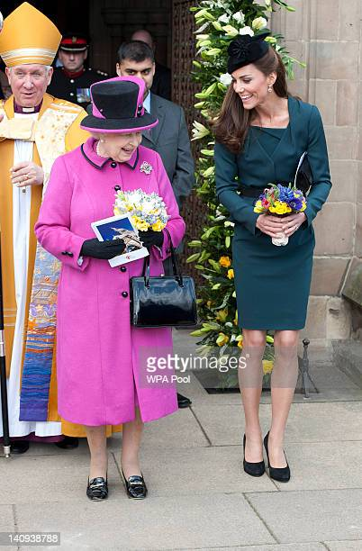 Queen Elizabeth II and Catherine Duchess of Cambridge visit Leicester Cathedral on March 8 2012 in Leicester England The royal visit to Leicester...