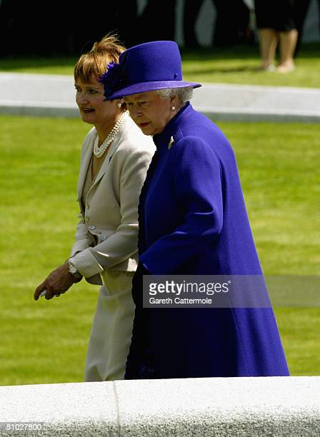Queen Elizabeth II and Culture Secretary Tessa Jowell attend the opening of the Diana Memorial Fountain in memory of the late Princess Diana at the...