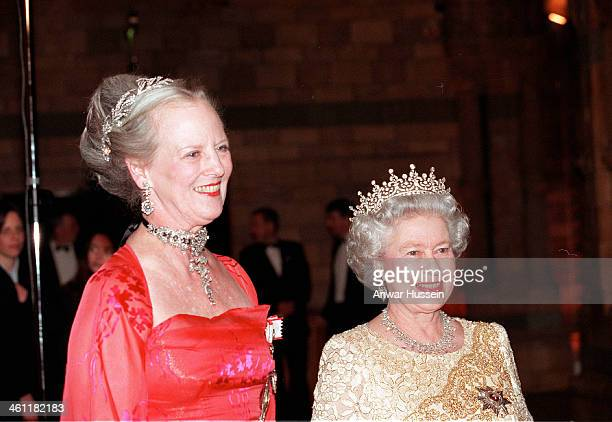 Queen Elizabeth II and Danish Queen Margrethe of Denmark attend a reception at the Natural History Museum on February 17 2000 in London England