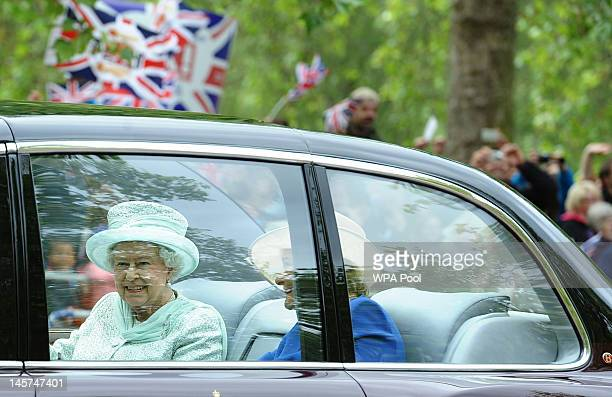 Queen Elizabeth II and Diana Marion The Lady Farnham make their way down the Mall to St Paul's for a service of thanksgiving on June 5 2012 in London...
