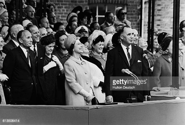 Queen Elizabeth II and Dr John Rannie attend the launching of the Queen Elizabeth 2