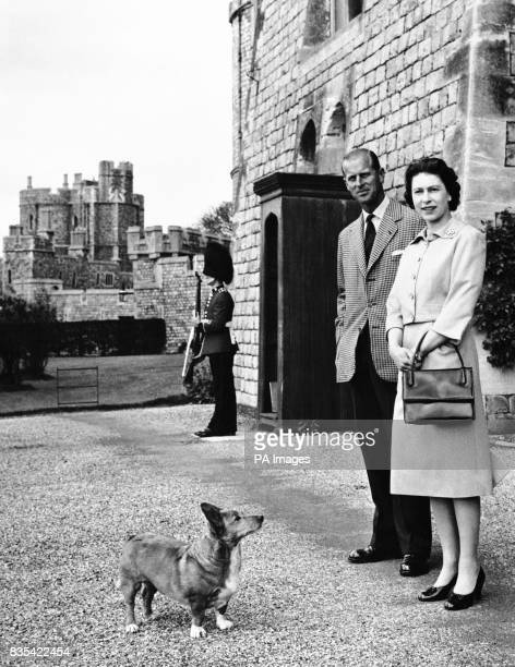 Queen Elizabeth II and Duke of Edinburgh at Windsor joined by Sugar one of the Royal corgis